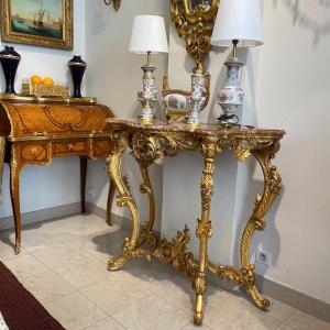Console Louis XV En Bois Doré A 4 Pieds Dessus Marbre XIX Ieme