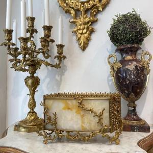 Porte Courrier De Style Asiatique En Bronze Doré Et Albatre époque XIX Ieme