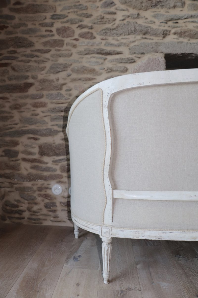 Grand Sofa Louis XVI, Eighteenth Time, Upholstered In Linen
