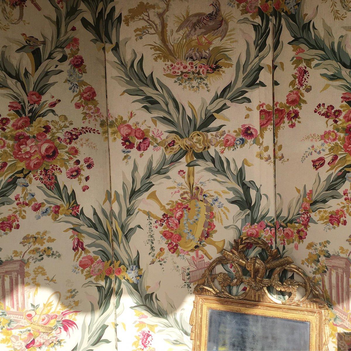 Très grand Paravent De Chateau - Tissu Chambre De Marie-Antoinette Fontainebleau