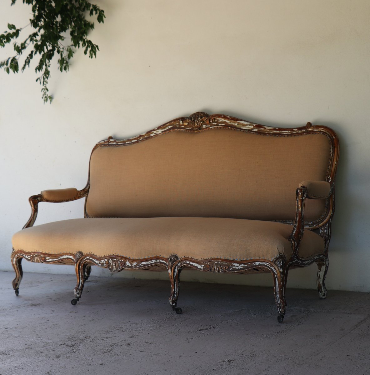 Louis XV Style Sofa In Golden Wood