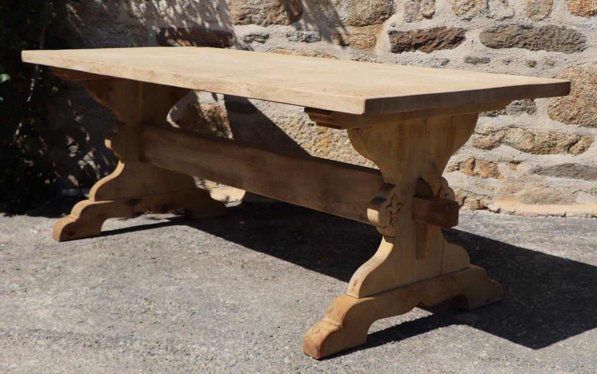 Table de monast re bois massif fleur de lys tables - Table de salle a manger en bois ...