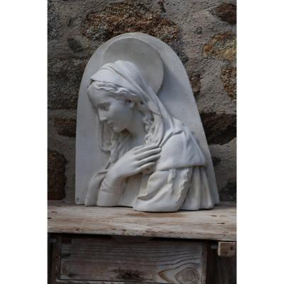 Sculpture bas-relief de la Saint Vierge Marie En Plâtre Signée
