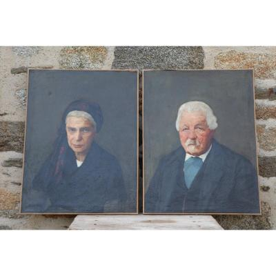 Pair of oil painted portraits, representing a couple (the parents of the painter?) Signed Ch. Fornara and dated 1895. Painting of a high quality (painter quoted).<br />