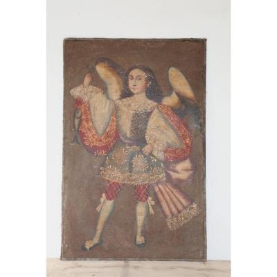 Great Painting Of The Archangel Raphael, School Of Cuzco XIX