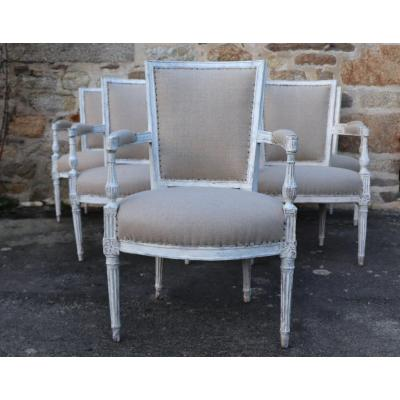 Series Of 6 Eighteenth Armchairs, Louis XVI Period, Linen