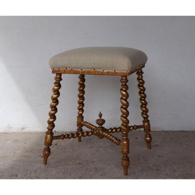 Napoleon III Stool In Golden Wood