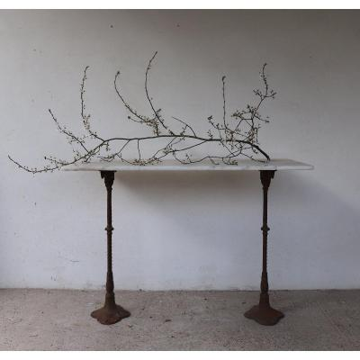 Old Guinguette Table In Marble And Cast Iron XIX