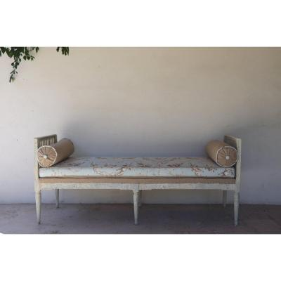 Rest Bed Louis XVI, XVIII Reupholstered