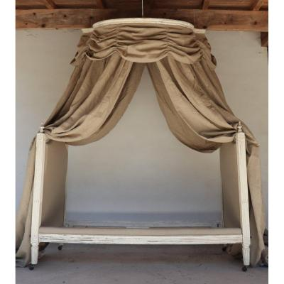 Canopy Bed Louis XVI Period XVIII Century Reupholstered