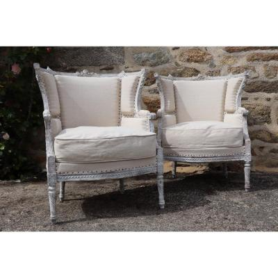 Pair Of Louis XVI Style Bergeres, Reupholstered In Antic Hemp