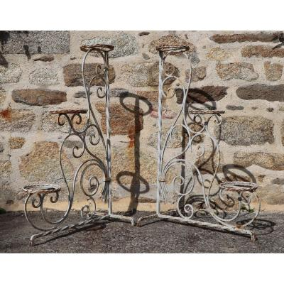 Pair Of Wrought Iron Planters 1900