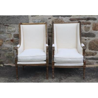 Two Louis XVI Style Golden Wood Bergères Reupholstered In French Old Linen