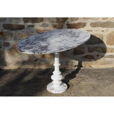 Old Yacht Table 1930 Wood And Cast Iron