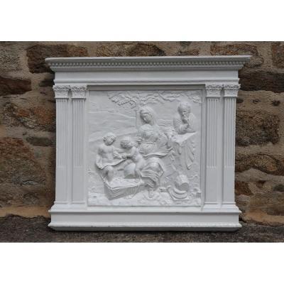 Grand Bas-relief En Plâtre D'après Raphaël La Sainte Famille Sous Un Chêne