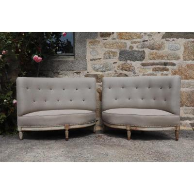 Pair Of Napoleon III Corner Sofas Re-upholstered In French Linen