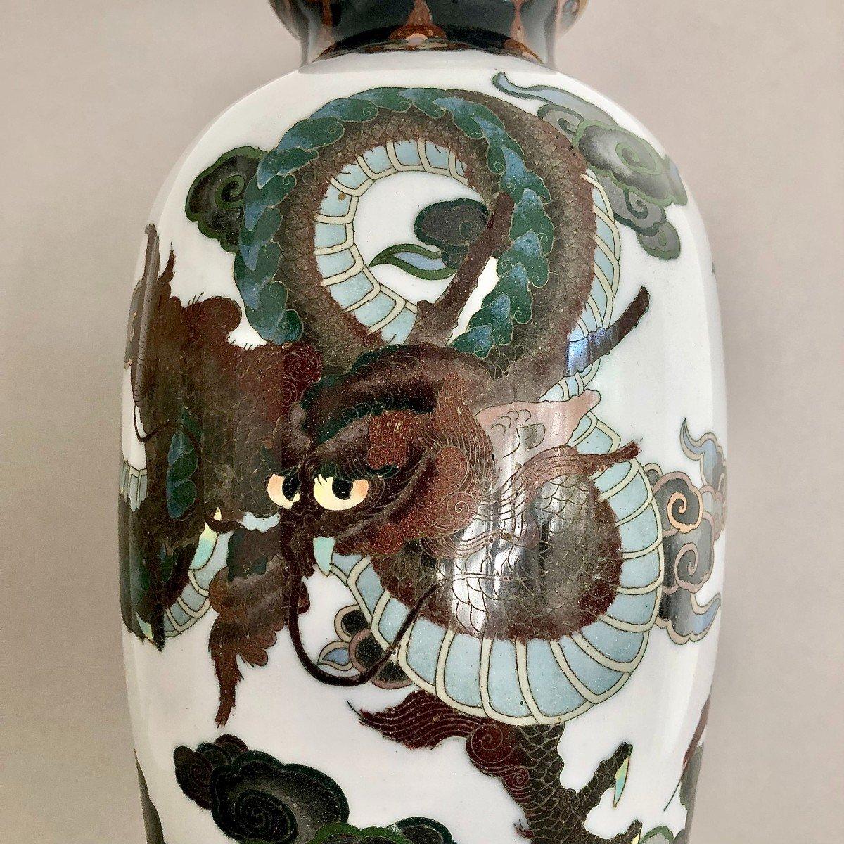 Paire de Vases en Emaux Cloisonnés Japon Période Meiji-photo-3