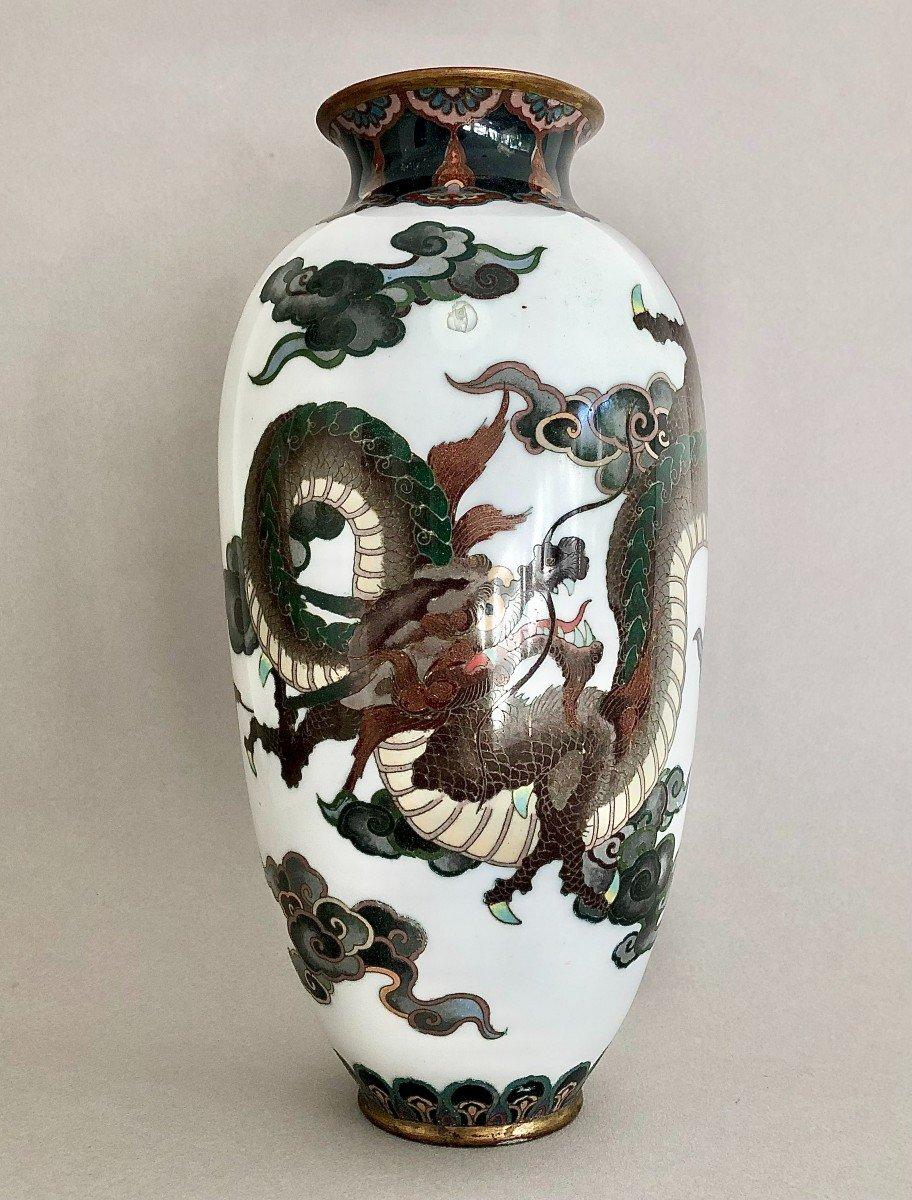 Paire de Vases en Emaux Cloisonnés Japon Période Meiji-photo-4