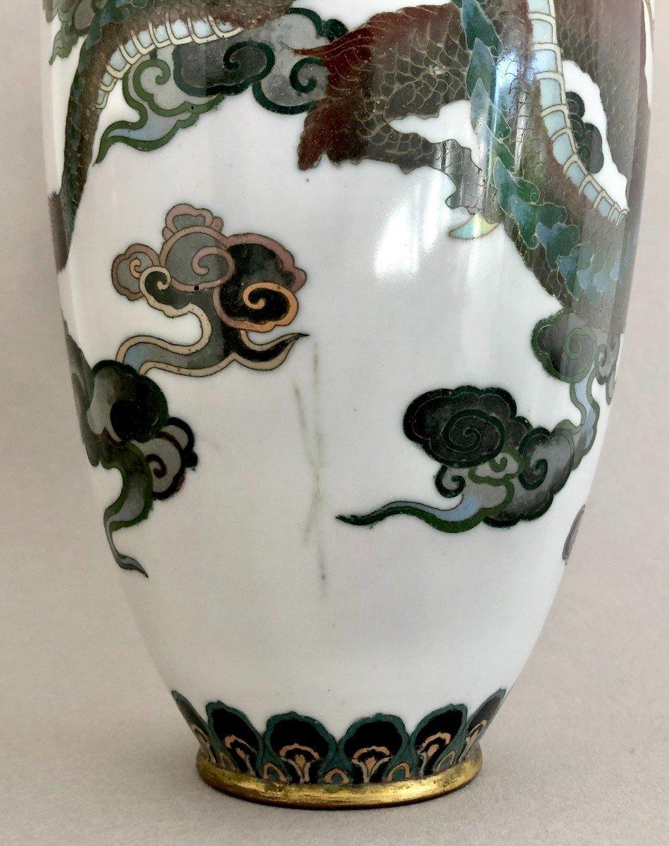 Paire de Vases en Emaux Cloisonnés Japon Période Meiji-photo-1