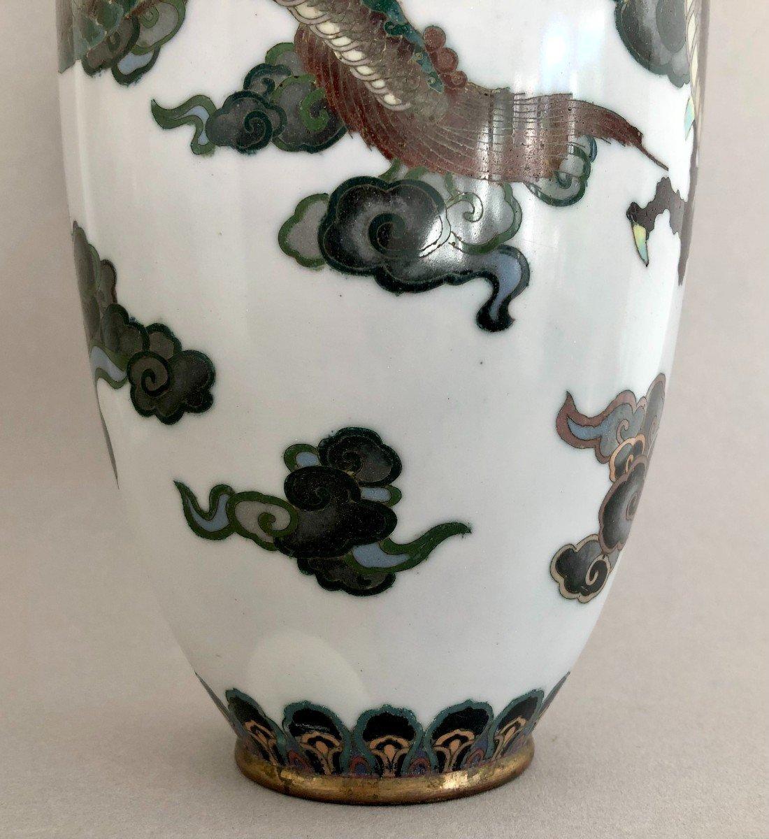 Paire de Vases en Emaux Cloisonnés Japon Période Meiji-photo-6