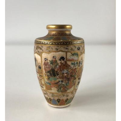 Small Satsuma Vase Japan Signed Kinkozan