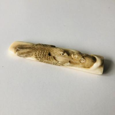 Small Handle Carved In Ivory Paper Cut Shibayama Japan 19th