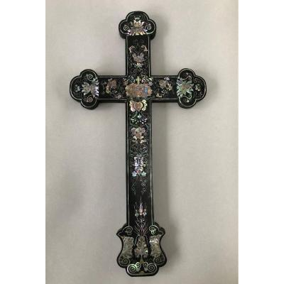 Large Precious Wood Cross With Mother Of Pearl Inlays China Indochina XIXth