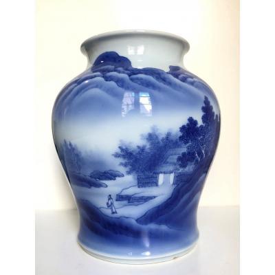 Vase porcelaine bleu et blanc Japon Makuzu Kozan début 20 eme