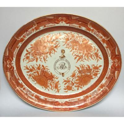 Grand Plat Porcelaine De Chine XIXe Fitzhugh Orange American / British Market Platter