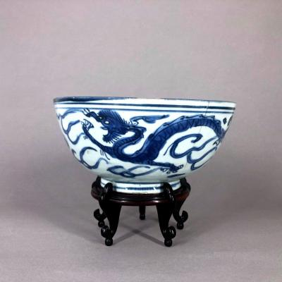 Large Blue And White Chinese Porcelain Bowl Ming Period