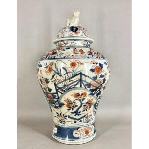 Ancien Vase Potiche Couverte Porcelaine Du Japon Imari XVIII Eme