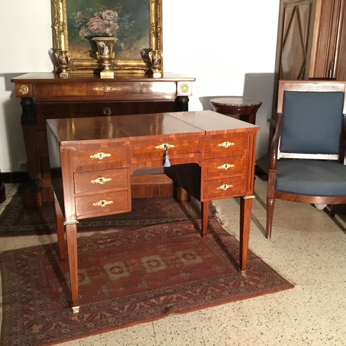 Beautiful Dressing Table In Louis XVI Style Marquetry From Napoleon III Period 19th Time