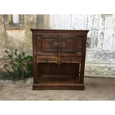 Cabinet Crédence En Noyer Style Gothique XVIIIé