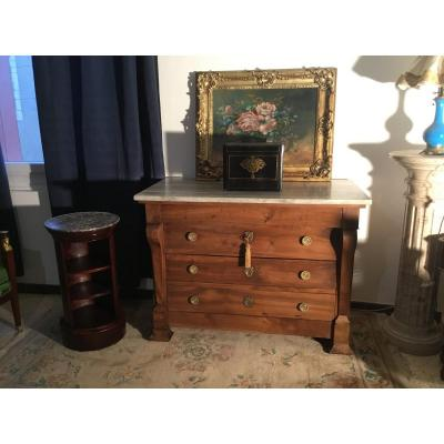 Restoration Commode In Walnut With Crosse XIXth