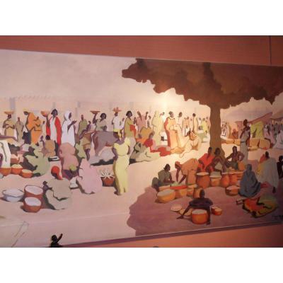 Grande Peinture Africaniste  Signé Hervigo 1956