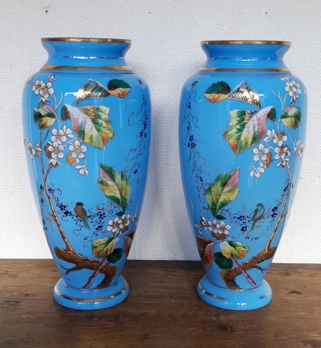 Paire De Vases Opaline Louis Philippe émaillés