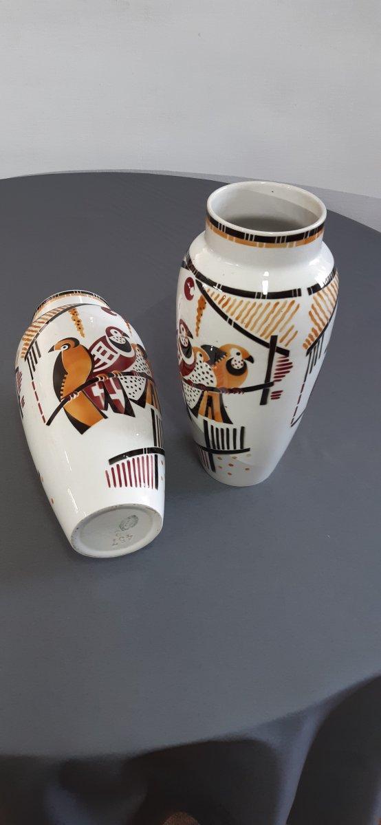 Pair Of Art Deco Vases Brands Luneville-photo-2