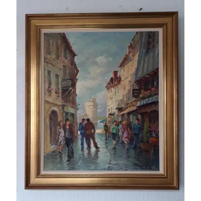 View Of A Street In La Rochelle - Pierre Trassard