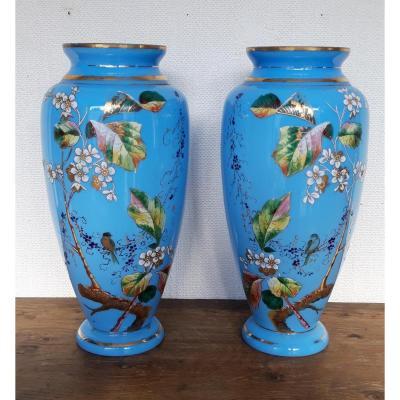 Pair Of Opaline Vases Louis Philippe Enamelled