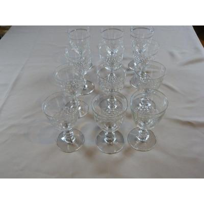 Twelve White Wine Glasses In Baccara Crystal Chaumy Model