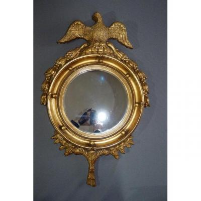 Round Mirror In Golden Wood
