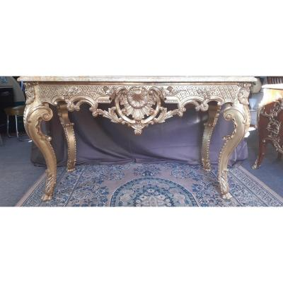 Large Louis XV Style Console In Golden Wood