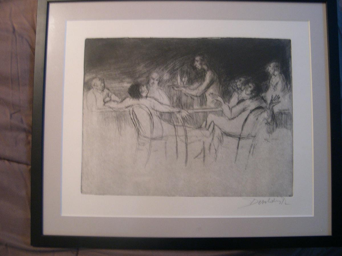 Talk Around A Glass Of Lithography Small Draw After Fusain