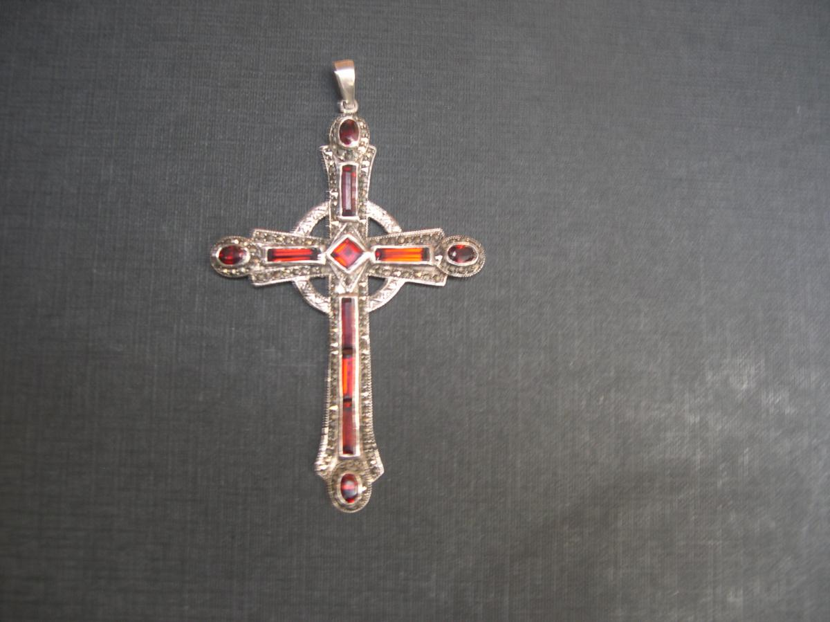 Cross Silver And Sapphire Red Orange