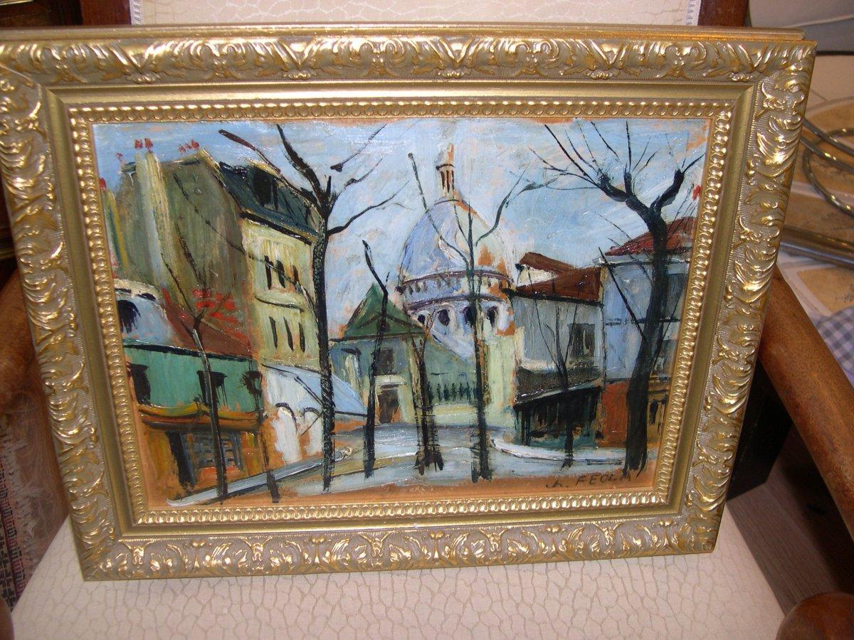 Oil On Panel Feola School Of Monmartre