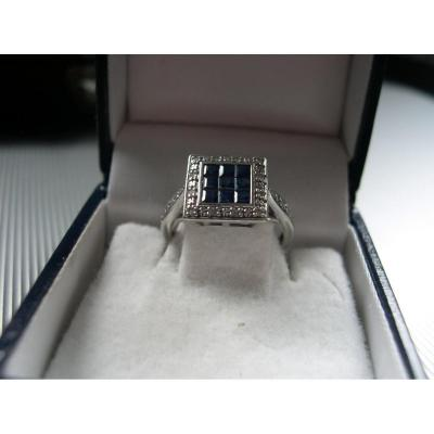 White Gold Ring Square Platter Set With Sapphire Mosaic