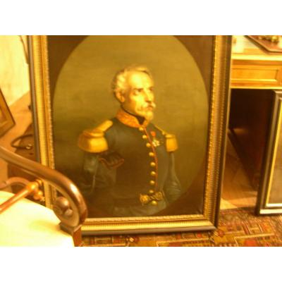 French Table D Epoque Napoleon III Portait D A General