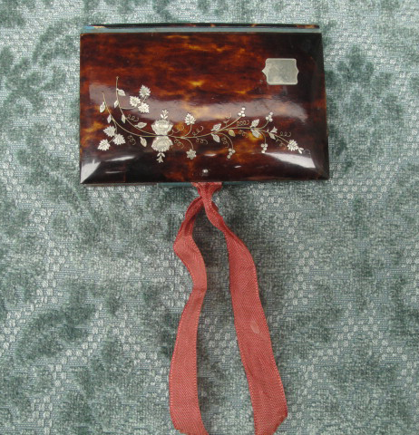 Dance Card  In Tortoiseshell With Silver Plate