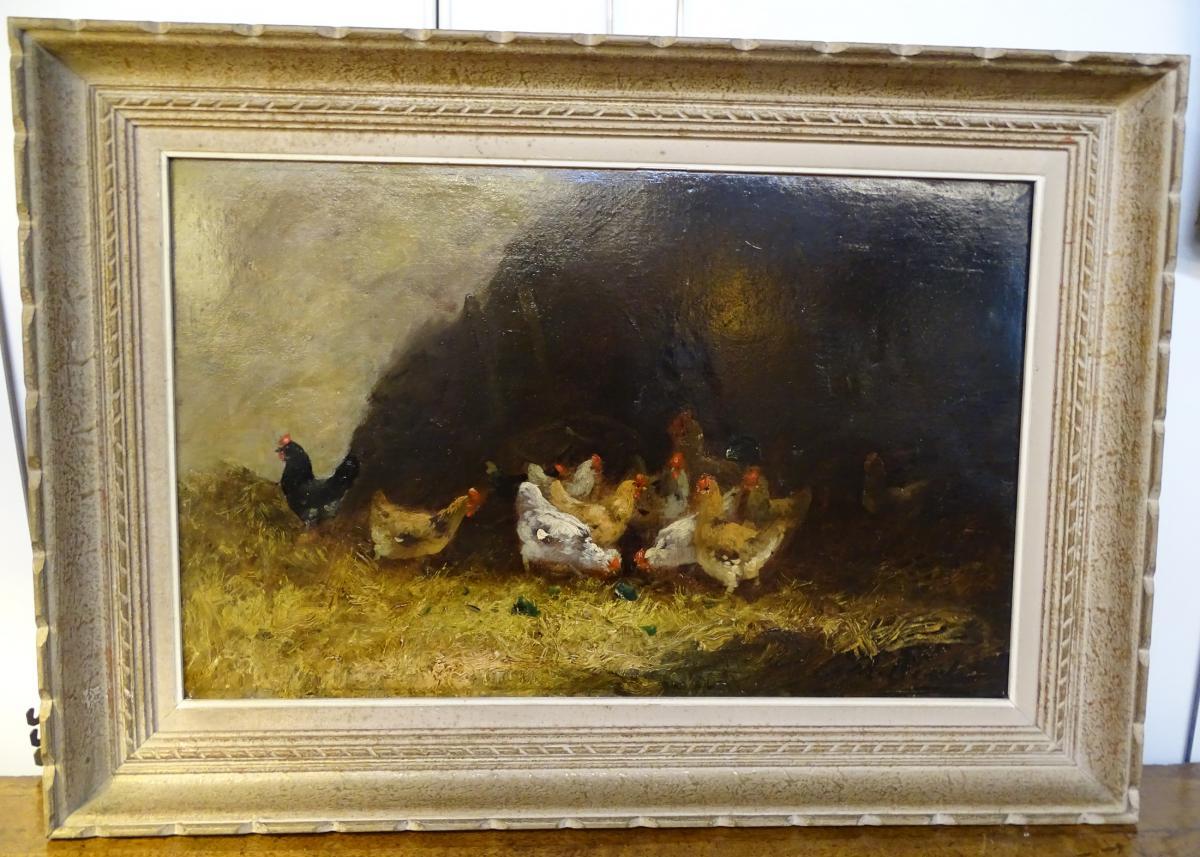 Oil On Canvas Farmyard Scene 19th