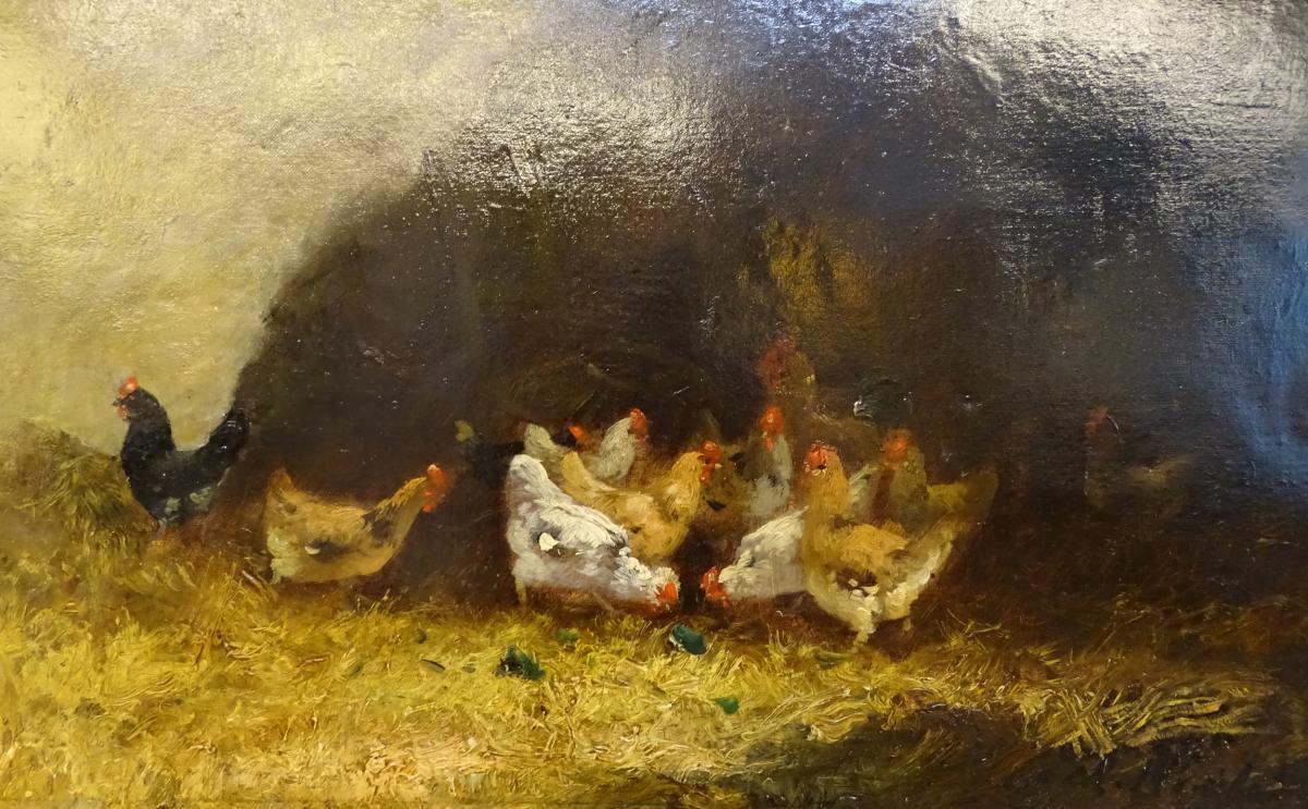 Oil On Canvas Farmyard Scene 19th-photo-2